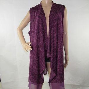 LOGO Lori Goldstein Open Vest Jacket Sleeveless